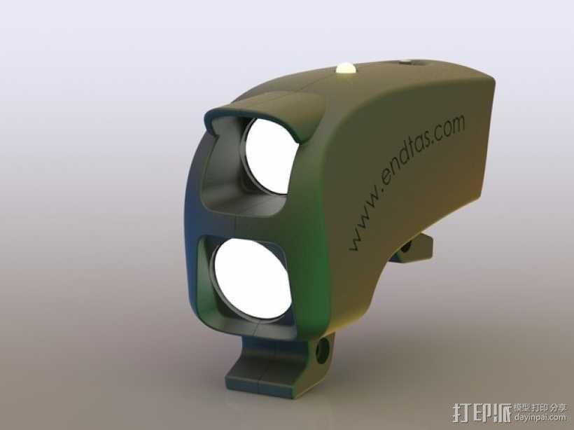 自行车 LED太阳能车灯 3D模型  图3