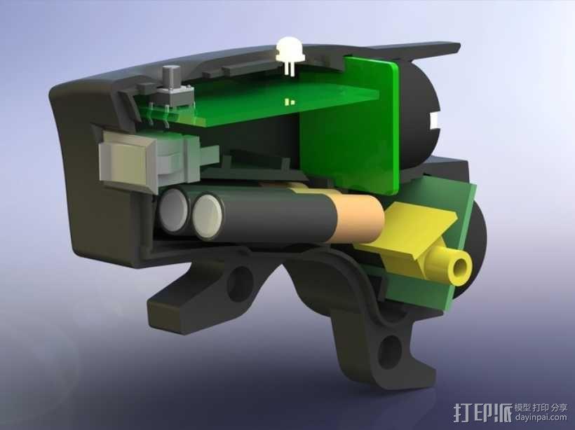 自行车 LED太阳能车灯 3D模型  图7
