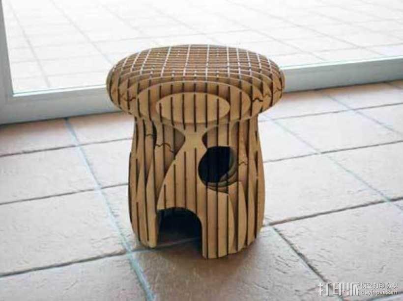蘑菇 凳子 3D模型  图3