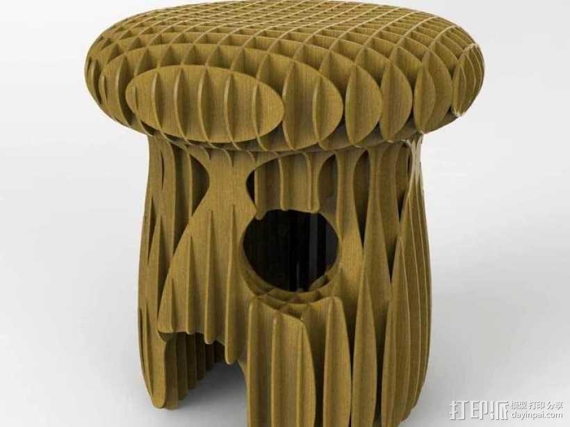 蘑菇 凳子 3D模型  图4