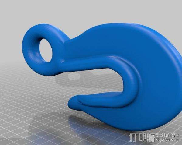简易鱼钩 3D模型  图1