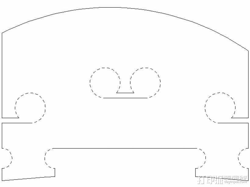 小提琴 琴桥 3D模型  图2