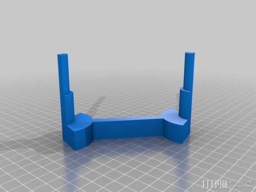 两头双簧管站架 3D模型  图3