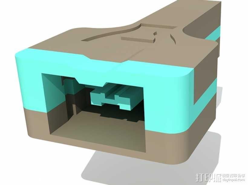 Wii Nunchuck配适器接口 3D模型  图1