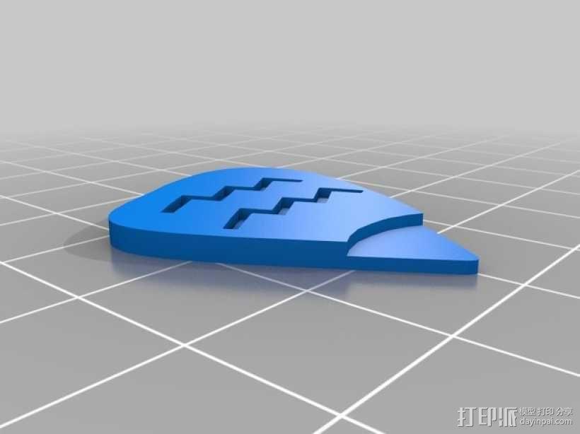 水瓶座 吉他拨片 3D模型  图1