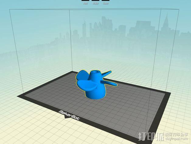 四叶螺旋桨 3D模型  图3