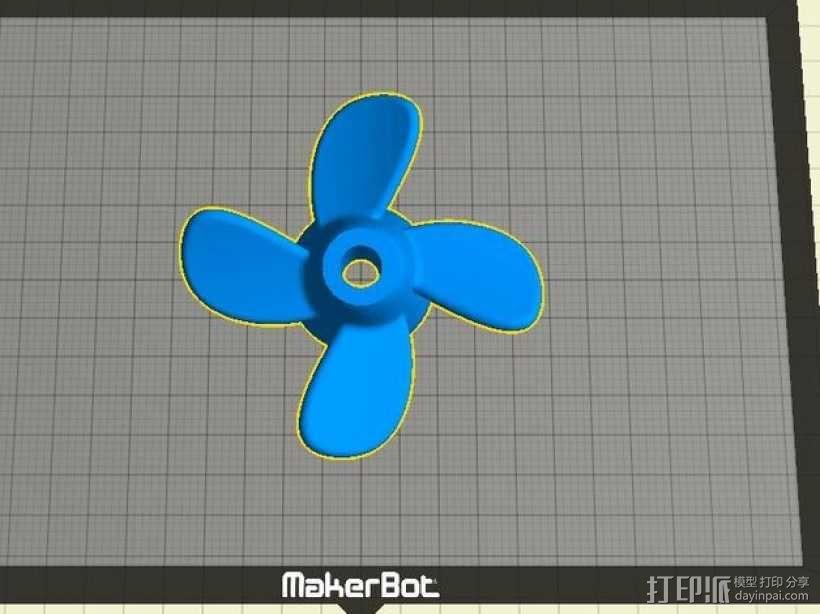 四叶螺旋桨 3D模型  图4