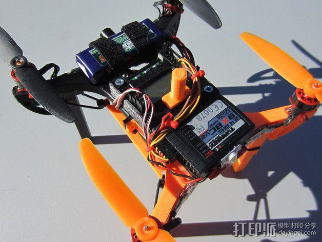 迷你多轴飞行器 可调节相机支架 3D模型  图2