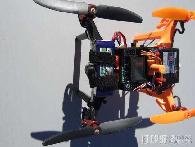 迷你多轴飞行器 可调节相机支架 3D模型  图3