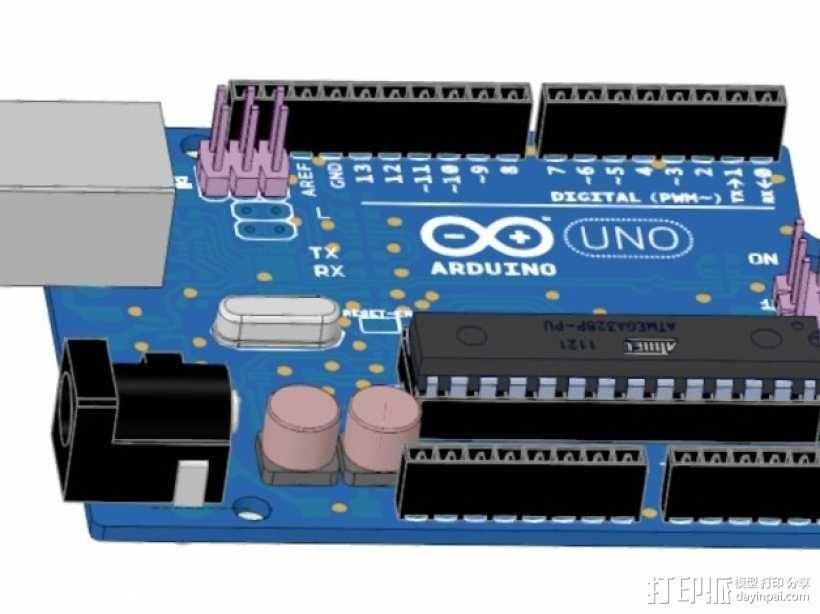 Arduino Uno R3电路板  3D模型  图1