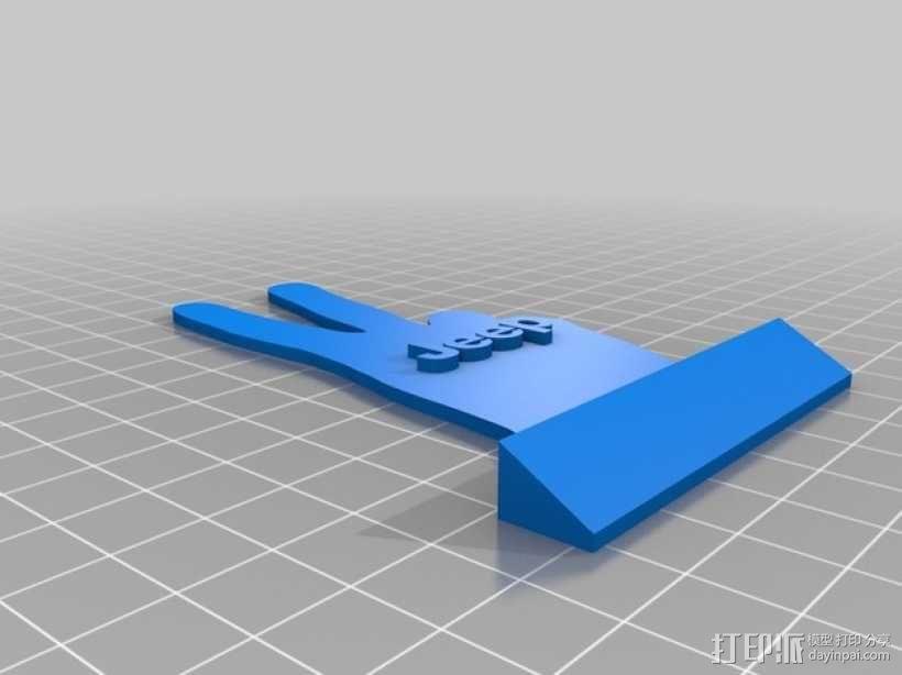 吉普车 v字形手势 装饰品 3D模型  图1