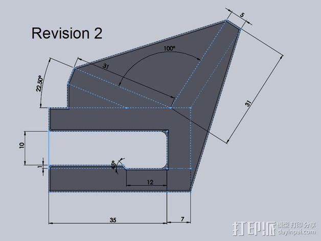 滑板 小旗支架 3D模型  图5