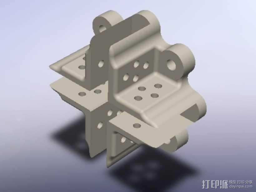 直流电机支架 3D模型  图1