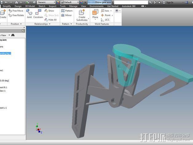 DJI Flame Wheel 330四轴飞行器 起落架 3D模型  图6