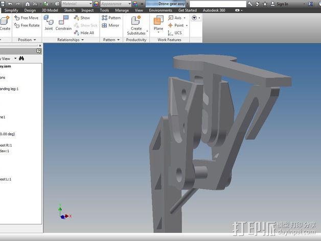DJI Flame Wheel 330四轴飞行器 起落架 3D模型  图7