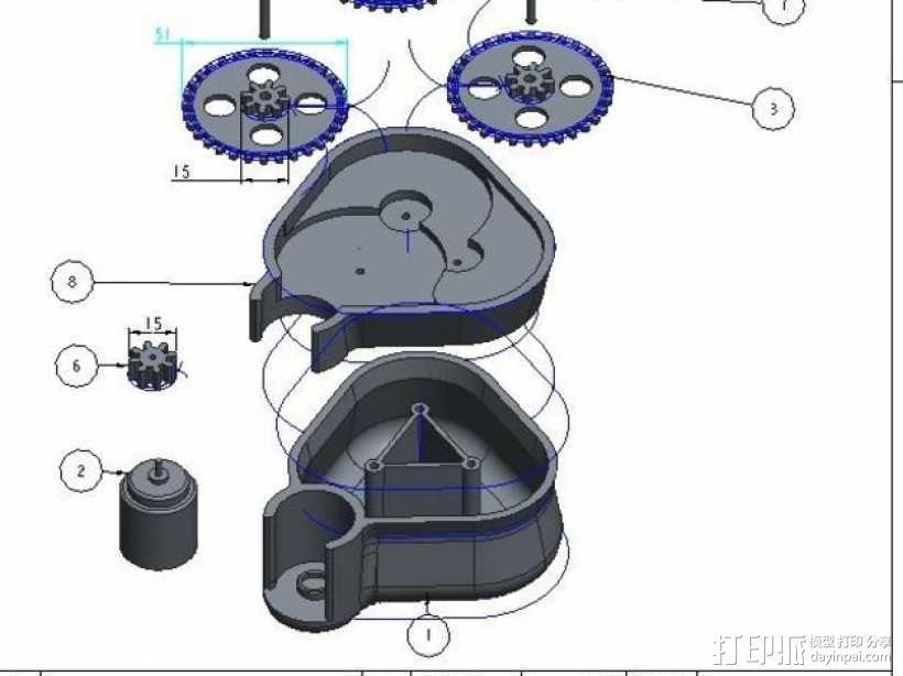 手摇发电机 3D模型  图1