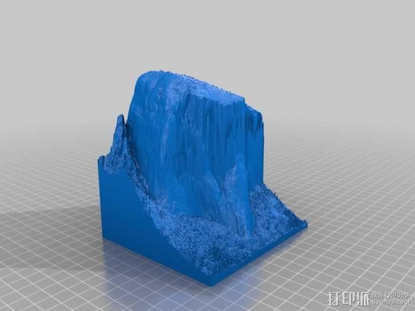 约塞米蒂国家公园 埃尔卡皮坦山脉地形图 3D模型  图1