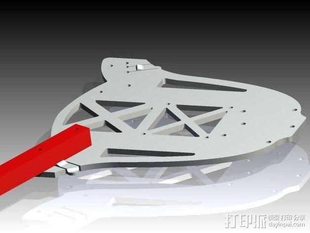 多轴飞行器蝶形尾部 3D模型  图4