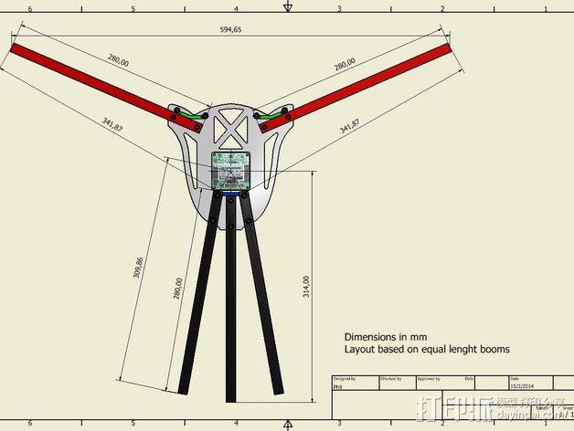 多轴飞行器蝶形尾部 3D模型  图10