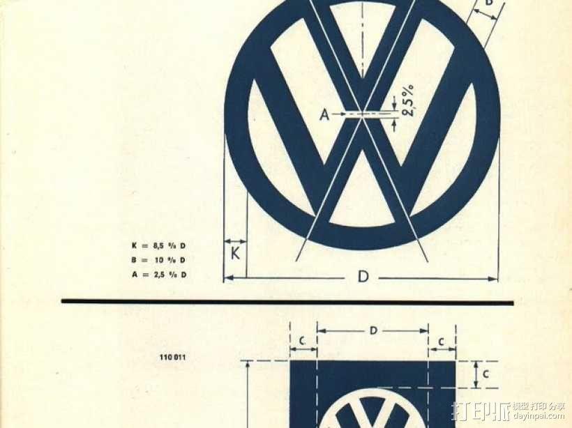 大众汽车 标志 3D模型  图4