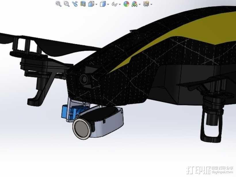无人机 单轴相机常平架 3D模型  图1