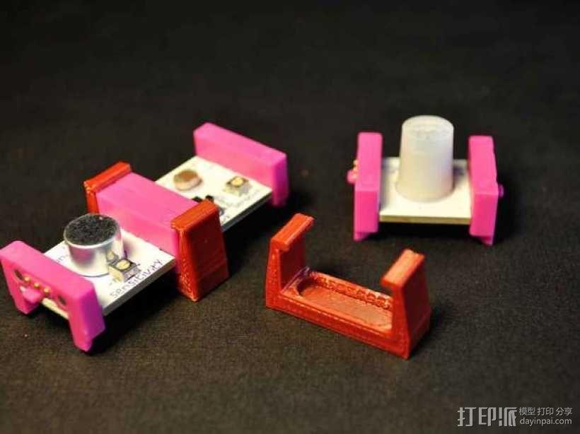 LittleBits模块化电子元器件 固定夹 3D模型  图1