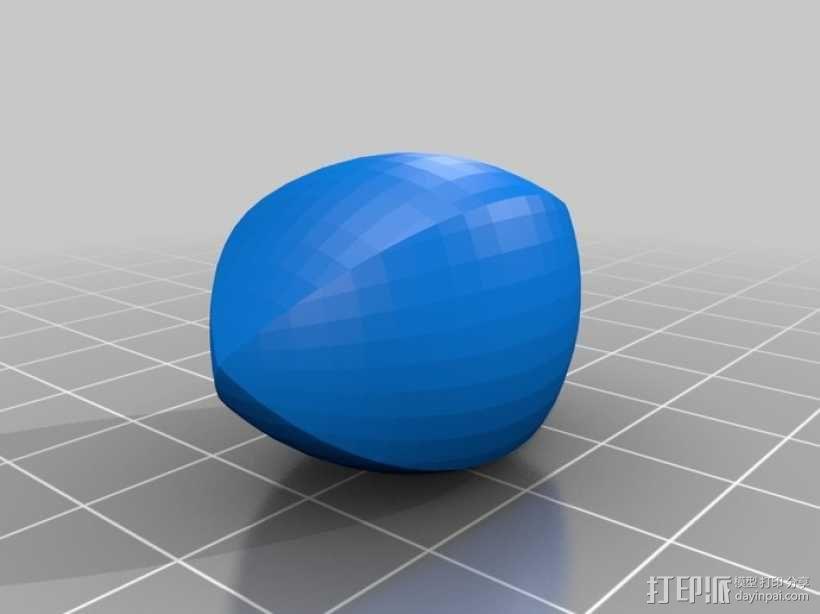橄榄球,开放式SCAD 3D模型  图1