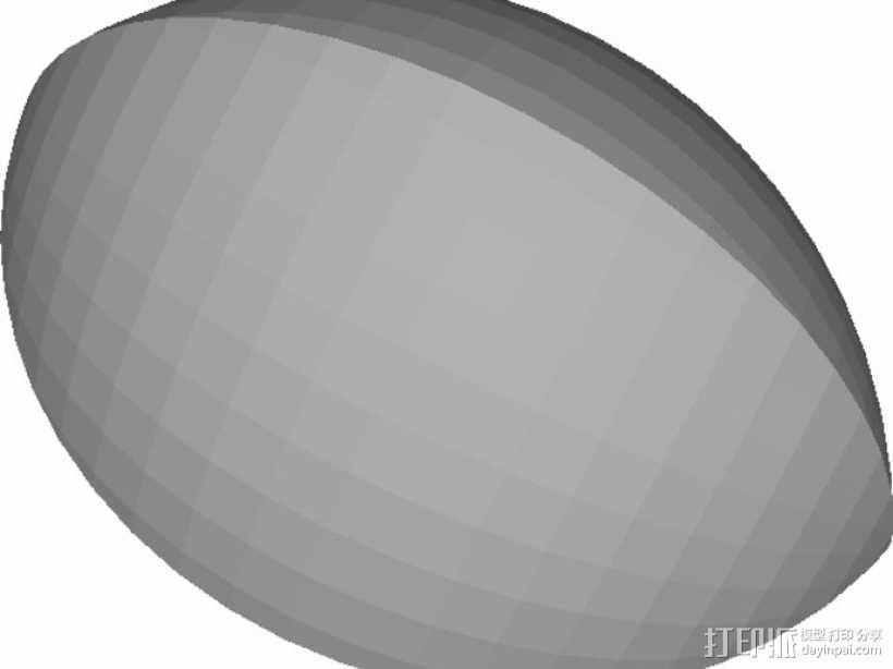 橄榄球,开放式SCAD 3D模型  图2