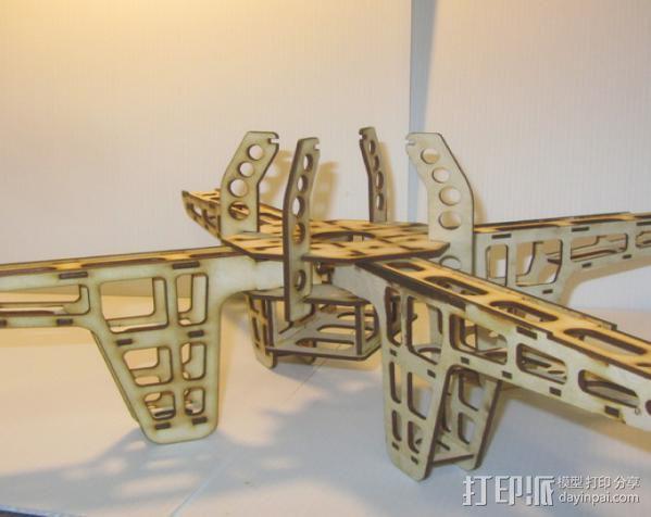 激光quadcopter 24宽,3毫米胶合板 3D模型  图4