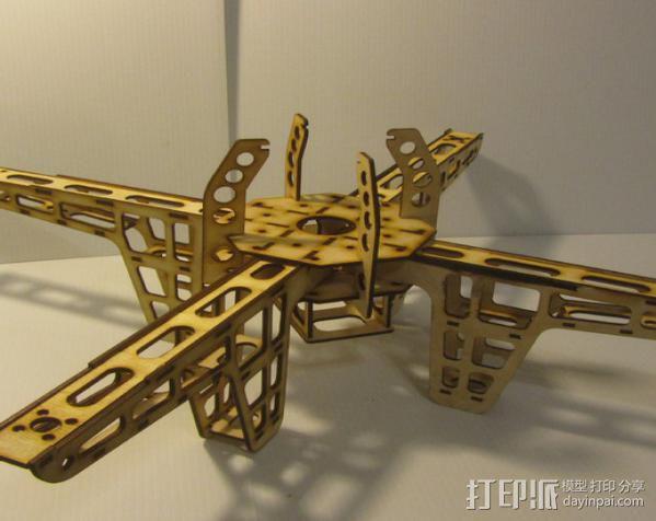 激光quadcopter 24宽,3毫米胶合板 3D模型  图3
