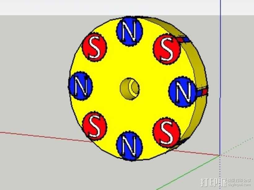 驱动磁铁夹 3D模型  图1