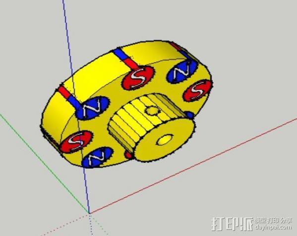 驱动磁铁夹 3D模型  图3