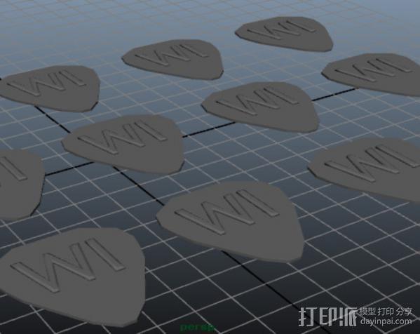 吉他拨片 3D模型  图2