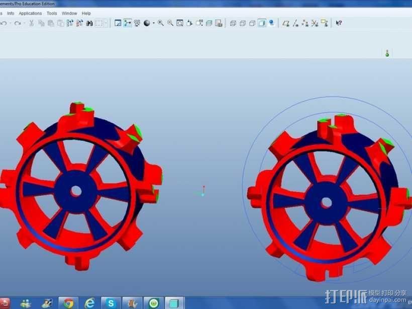 1:10比例RC车轮轴式轮胎 3D模型  图1