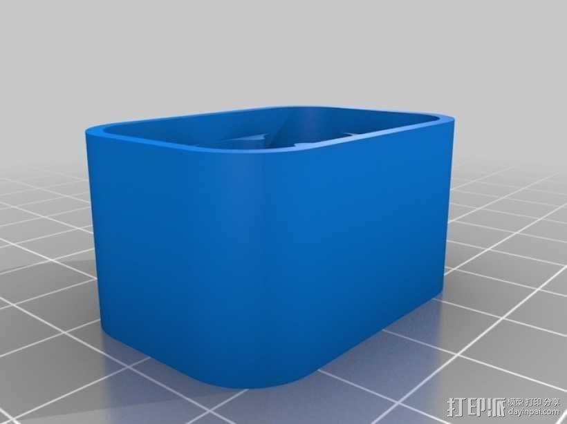 6节AAA电池座 3D模型  图2