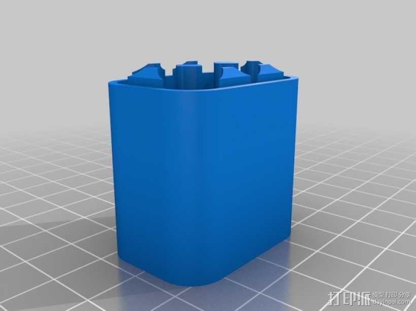 6节AAA电池座 3D模型  图1