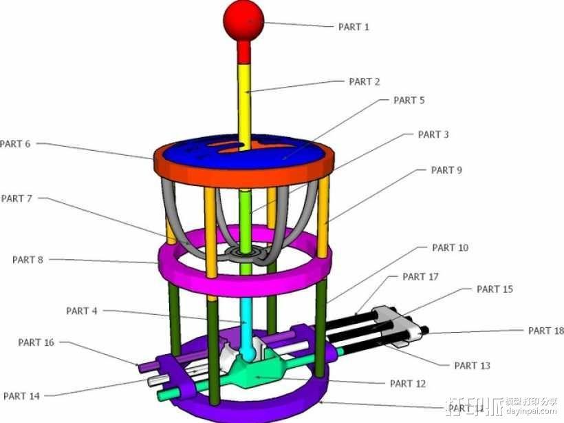 变速杆 3D模型  图1