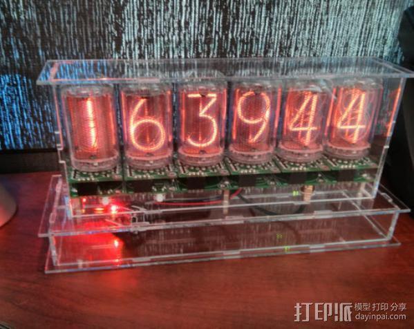 激光切割数字时钟 3D模型  图3