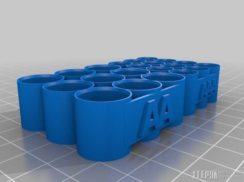 AA和AAA电池座 3D模型  图1