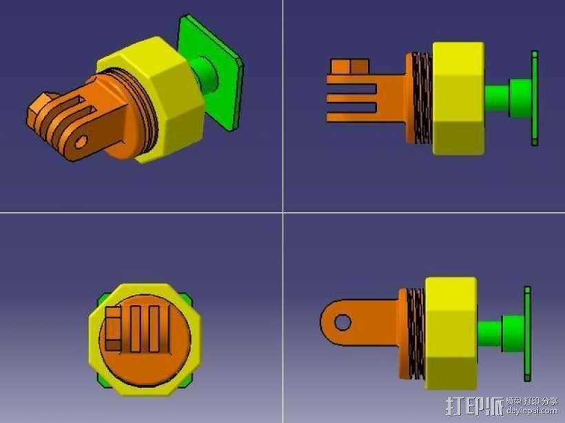 GoPro固定旋转槽 3D模型  图1