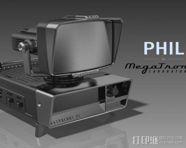 PHIL复古台式电脑/媒介中心 3D模型  图2