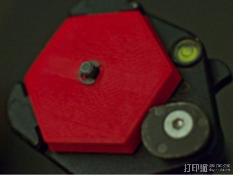六边形弧状三脚架头装置板 3D模型  图1