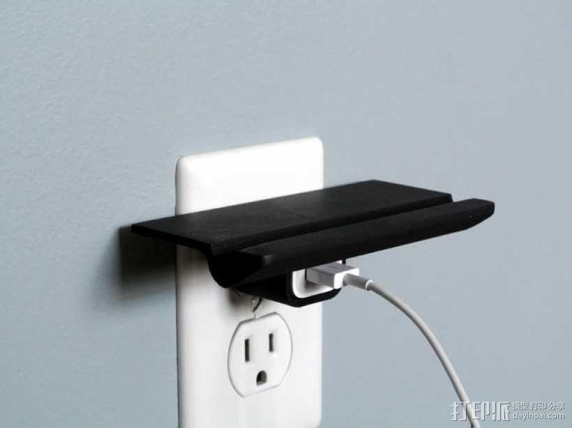 壁装电源插座支架 3D模型  图2