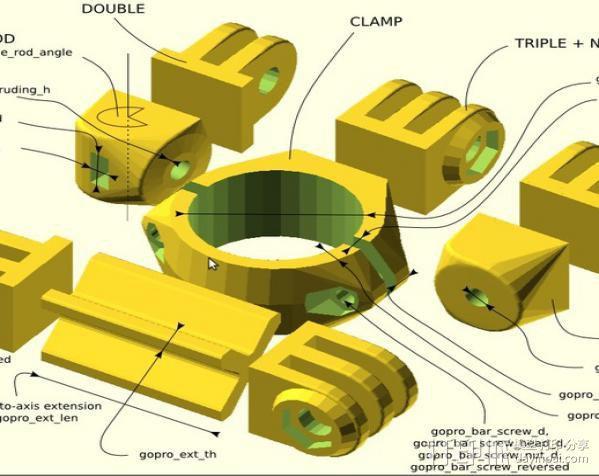 定制化GoPro相机支架 3D模型  图4