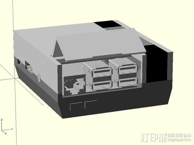 树莓派B+外壳 3D模型  图1