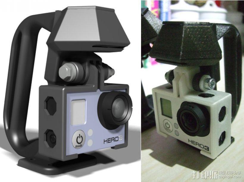 便携式GoPro Hero 3相机固定装置 3D模型  图1