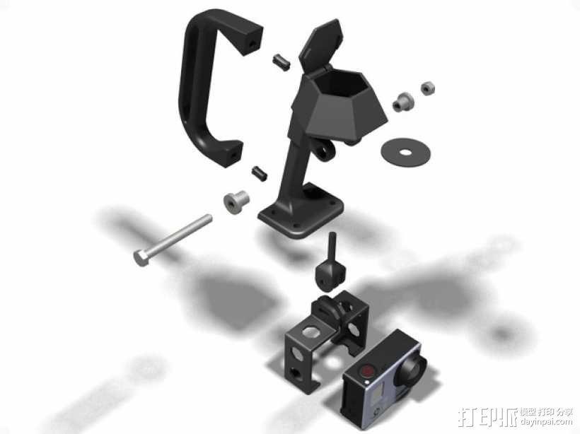 便携式GoPro Hero 3相机固定装置 3D模型  图13