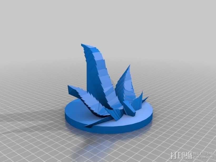 大麻叶形平板电脑架 3D模型  图1