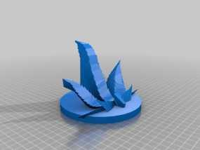大麻叶形平板电脑架 3D模型