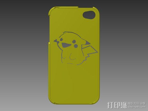 皮卡丘Iphone 4/4s 手机套 3D模型  图1
